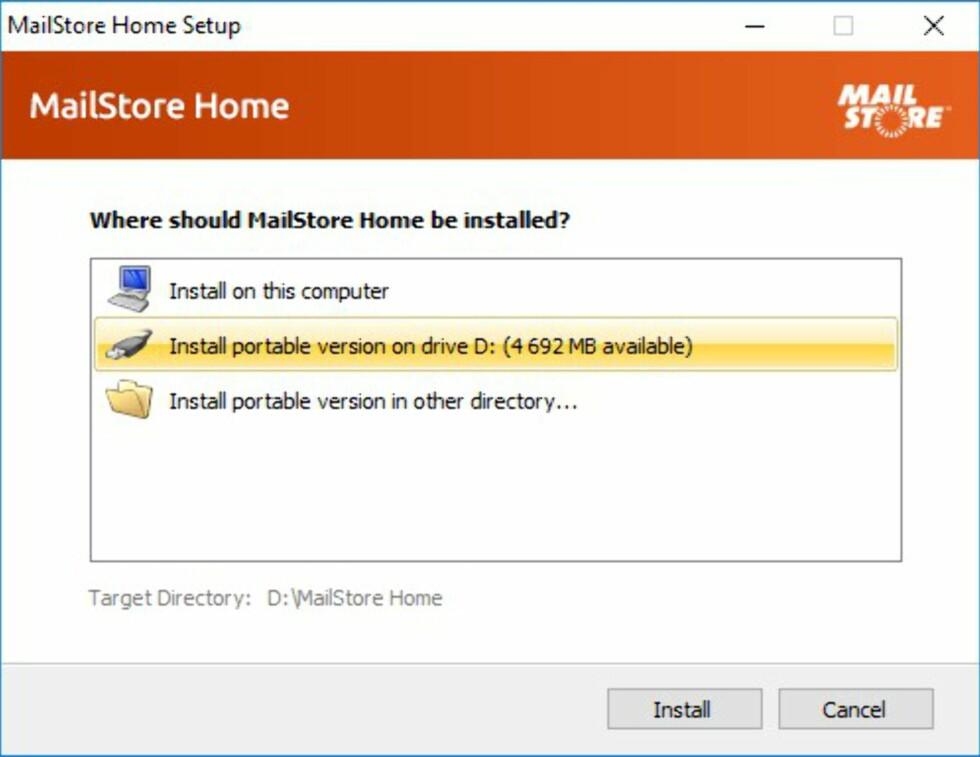 HVOR VIL DU INSTALLERE? Når du installerer programmet, får du spørsmål om du vil legge det på datamaskinen eller på en USB-minneplugg eller ekstern disk. Foto: BJØRN EIRIK LOFTÅS