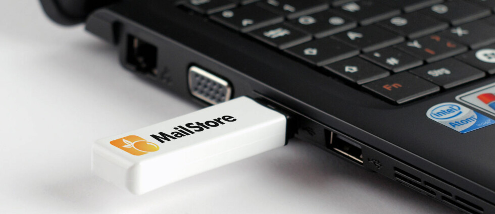 PORTBABELT ARKIV: Dette gratisprogrammet lar deg arkivere alle e-postene dine på en USB-minneplugg, og søke gjennom dem på sekunder. Foto: MAILSTORE