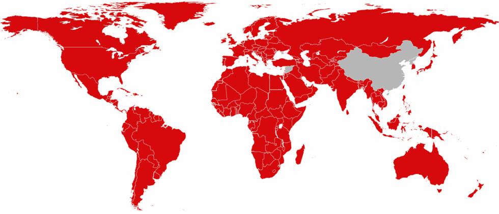 <strong><strong>IKKE I ALLE LAND:</strong></strong> Landene merket med rødt har tilgang til Netflix, og da kan du bruke ditt norske abonnement om du befinner deg i ett av dem; riktignok med et annet utvalg. Foto: NETFLIX