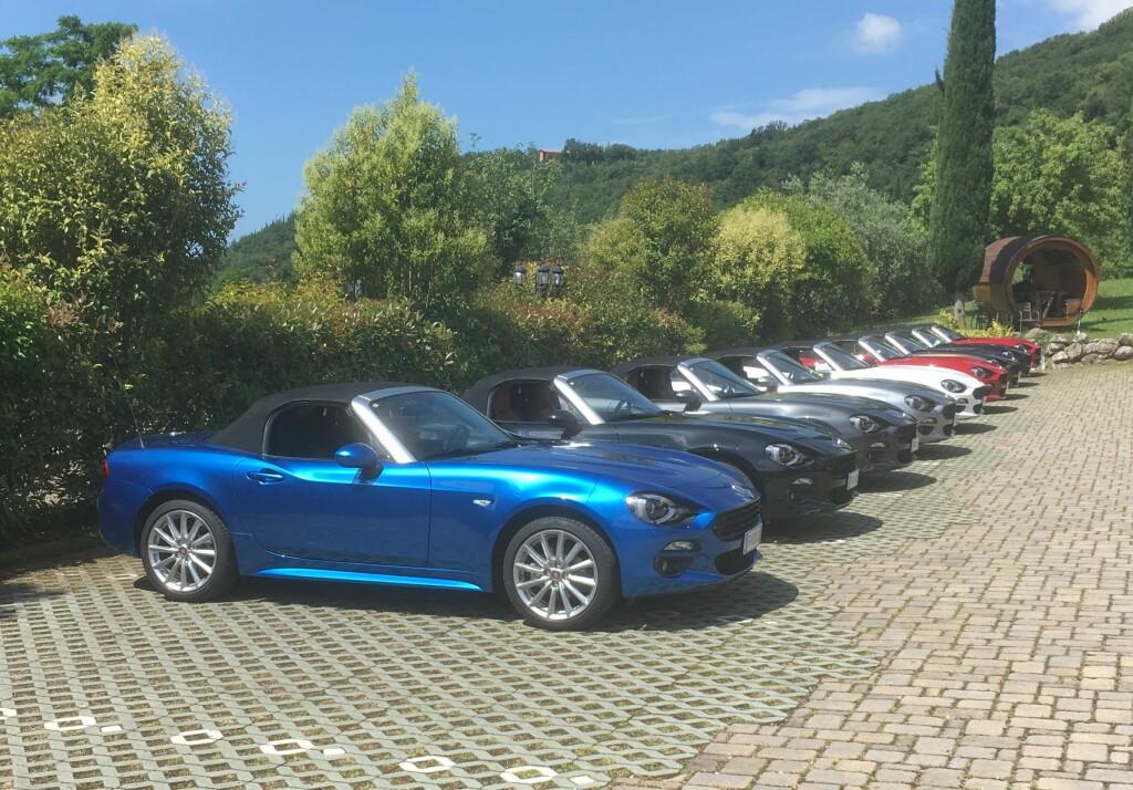 FARGERIK FORSAMLING: Her står noen av bilene utstilt før kjøringen - og viser noen av fargevalgene kundene får. Foto: KNUT MOBERG