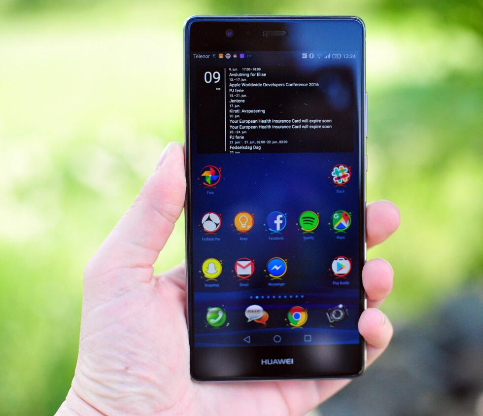<strong><strong>STOR:</strong></strong> Huawei P9 Plus måler 5,5 tommer over diagonalen og har AMOLED-skjerm. Foto: PÅL JOAKIM OLSEN