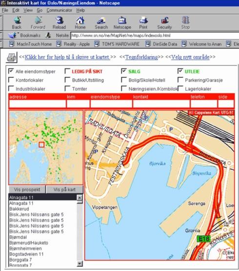 SPÅMANN: Kart over Bjørvika sett i Opera-nettleseren i 1998. Ett år senere besluttet også Stortinget at Oslos nye operahus skulle bygges her. Foto: DINSIDE