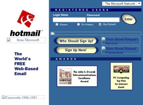 STILIG: Omtrent slik så innloggingssiden til Hotmail ut i 1998. Foto: ARCHIVE.ORG
