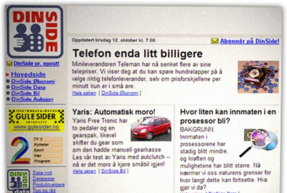 FØR ÅRTUSENSKIFTET: Slik så forsiden til Dinside ut 12. oktober 1999. Siden den gang har vi forbrukertestet utallige produkter og tjenester.  Foto: OLE PETTER BAUGERØD STOKKE