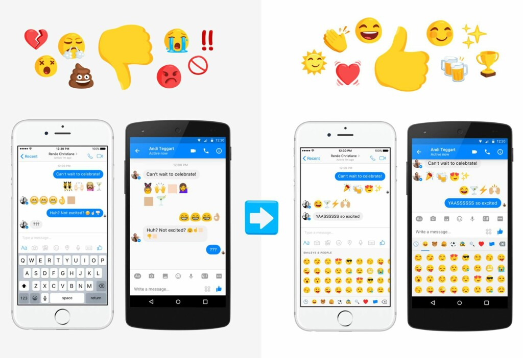 LIKT FOR ALLE: Nå skal det bli slutt på emoji-misforståelse mellom iPhone- og Android-brukere. Foto: FACEBOOK
