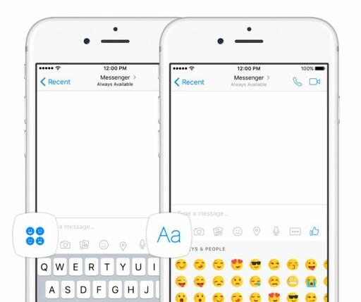 SE ETTER DET NYE IKONET: De nye emojiene finner du på en ny knapp med fire små emojier. Foto: FACEBOOK