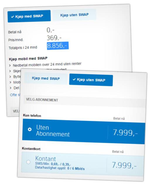 DYRERE: Kjøper du mobilen med Swap-ordningen, må du også betale mer for den. Her ser du hvordan Samsung Galaxy S7 Edge koster 8.856 kroner totalt over to år, men 7.999 kroner om du betaler der og da. Foto: OLE PETTER BAUGERØD STOKKE