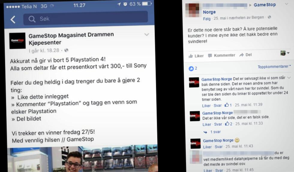 SVARTE SELV: Gamestop gikk ikke akkurat ut og advarte, men de svarte de som spurte, og sa tydelig at konkurransen var falsk på egne Facebook-sider.  Foto: OLE PETTER BAUGERØD STOKKE