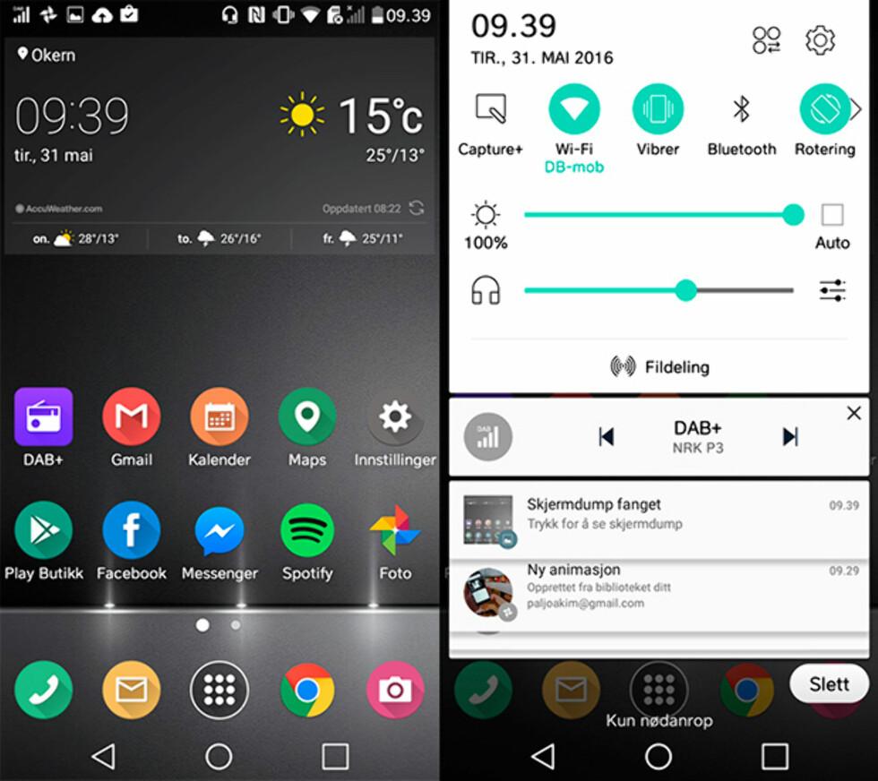 MYE I VARSELMENYEN: Når man hører på DAB er nesten to tredeler av skjermbildet brukt opp før første app-varsel. Via LG Smartworld-appen kan du laste ned nye temaer slik vi har gjort i skjermbildet til venstre. Foto: PÅL JOAKIM OLSEN