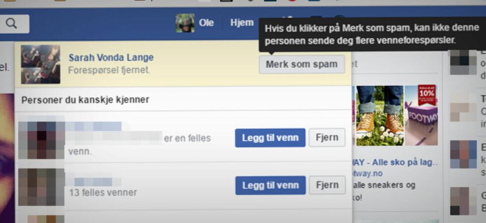 RAPPORTÉR: Etter du har takket nei til en venneforespørsel, kan du rapportere profilen til Facebook. Vi har rapportert mange, og sett at de har forsvunnet. Foto: OLE PETTER BAUGERØD STOKKE