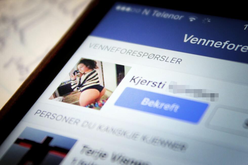 FRISTER MED HUD: Mange av de falske Facebook-profilene er av det motsatte kjønn. Menn blir lokket med lettkledde kvinner, mens kvinner blir lokket med politimenn og millitære.  Foto: OLE PETTER BAUGERØD STOKKE