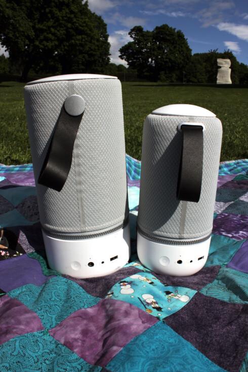 HENDIG: Med denne hanken bakpå kan du bære med deg høyttalerne. Vi liker! Foto: KIRSTI ØSTVANG