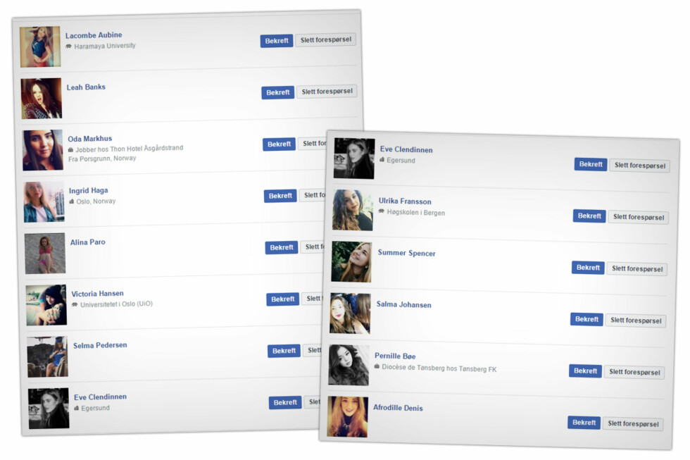 VÅRE NYE VENNER: Vi hadde en lang liste falske profiler som hadde sendt oss venneforespørsel. Så trykket vi «Bekreft» på alle sammen.  Foto: OLE PETTER BAUGERØD STOKKE