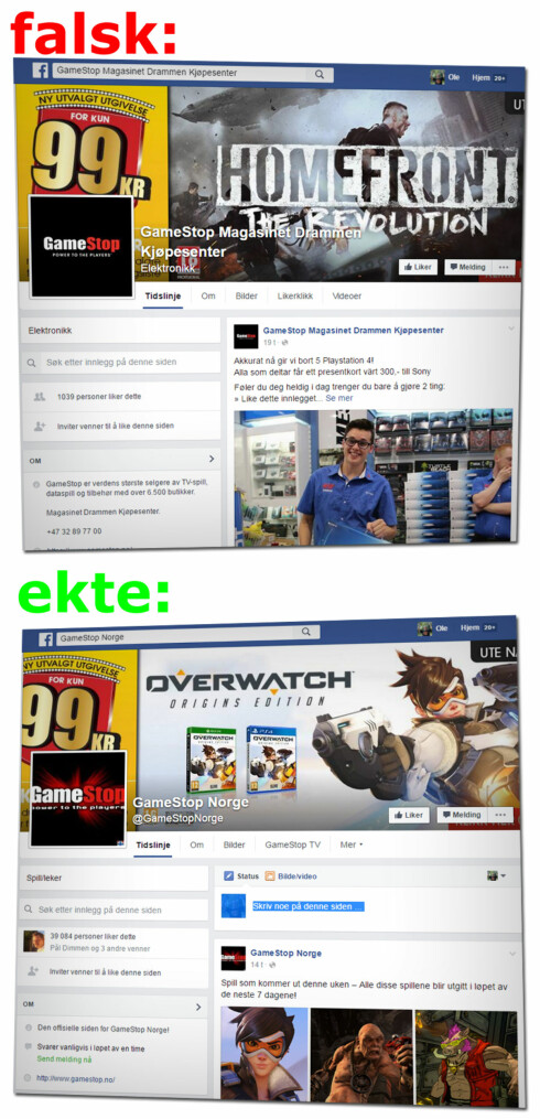 FORSEGGJORT: Den falske Gamestop-siden ser ganske like ut de ekte sidene. Men den har blant annet lite innhold, og alt er fra det siste døgnet.  Foto: OLE PETTER BAUGERØD STOKKE