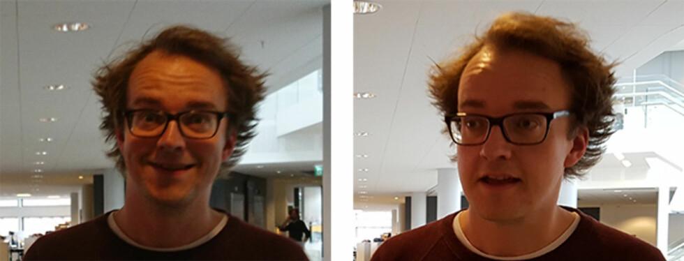 HMM...: Sonys (til venstre) prediktive autofokus gav oss et mer uskarpt bilde enn Samsungs objektsporing. Foto: PÅL JOAKIM OLSEN