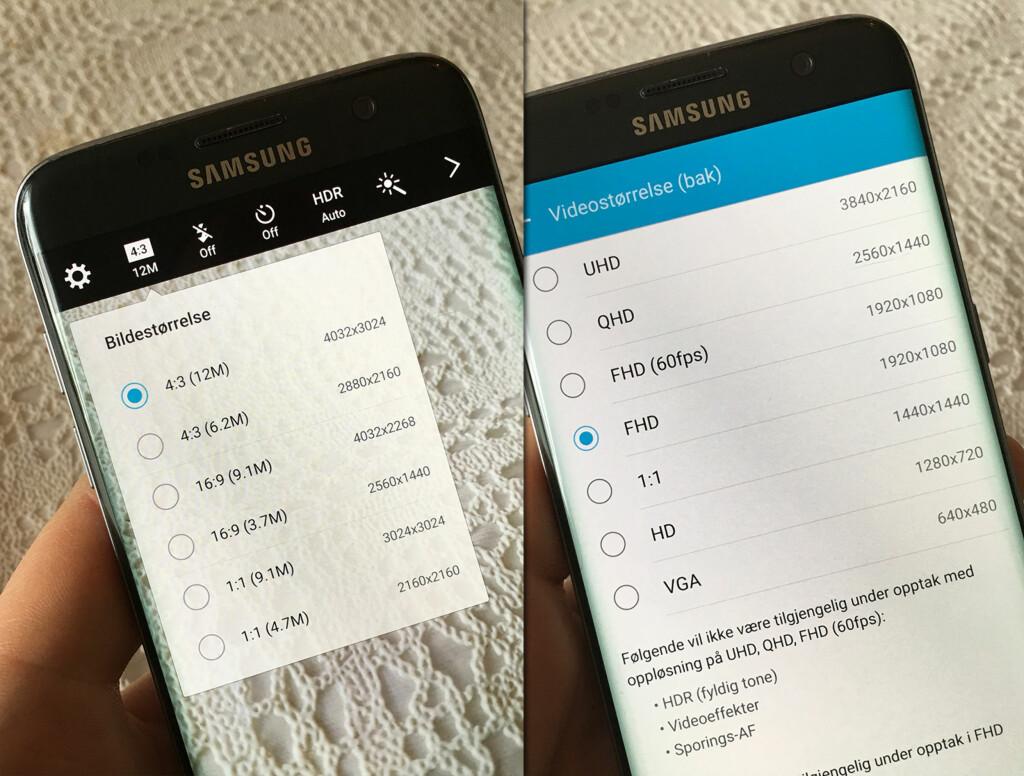 REDUSER OPPLØSNINGEN: På de fleste Android-telefoner kan du justere ned oppløsningen både på bilder og video. Foto: PÅL JOAKIM OLSEN