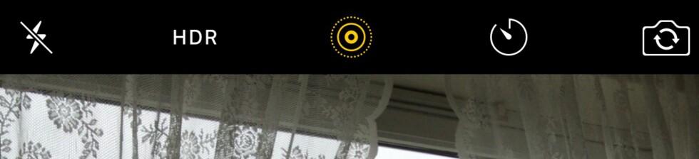 LIVE PHOTOS: Det gule ikonet angir om du har slått live photos av eller på. Dette er små videosnutter som lagres med hvert stillbilde, og hver av dem opptar 3-4 MB lagringsplass. Foto: PÅL JOAKIM OLSEN