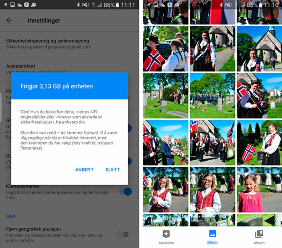 PÅ NETT: Selv om vi sletter alle bildene på telefonen og frigjør drøye 3 GB kan de fint sees på siden vi har en sikkerhetskopi hos Google. Foto: PÅL JOAKIM OLSEN