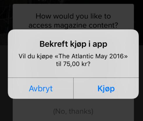 DYRT: Samme blad koster 75 kroner i egen app, og 239 kroner i året. Foto: TORE NESET