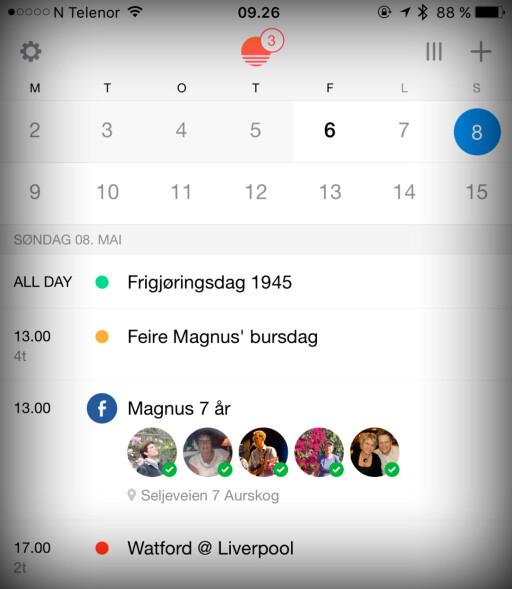 GLIMRENDE KALENDER: Sunrise er mye bedre enn Apples egen kalender. Snart blir den imidlertid integrert i Microsofts Outlook-app. Foto: KIRSTI ØSTVANG