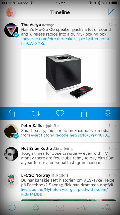 DEN BESTE: Skal du bare ha én Twitter-app på iPhone, er det Tweetbot du skal gå for. Foto: KIRSTI ØSTVANG