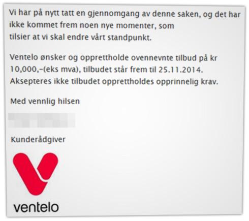 LANG KLAGERUNDE: Phonero, som da het Ventelo, tilbød først å kreditere 10.000 kroner. Så å halvere regningen.  Foto: OLE PETTER BAUGERØD STOKKE