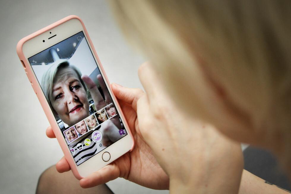 LEI DITT EGET ANSIKT? Med Snapchats nye funksjon kan du enkelt bytte til et annet.  Foto: OLE PETTER BAUGERØD STOKKE