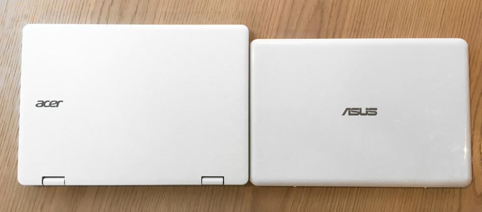 LITEN 11,6-TOMMER: Disse PC-ene har akkurat like stor skjerm og tastatur, men E200HA er langt mindre enn Acer Aspire R11. Foto: BJØRN EIRIK LOFTÅS