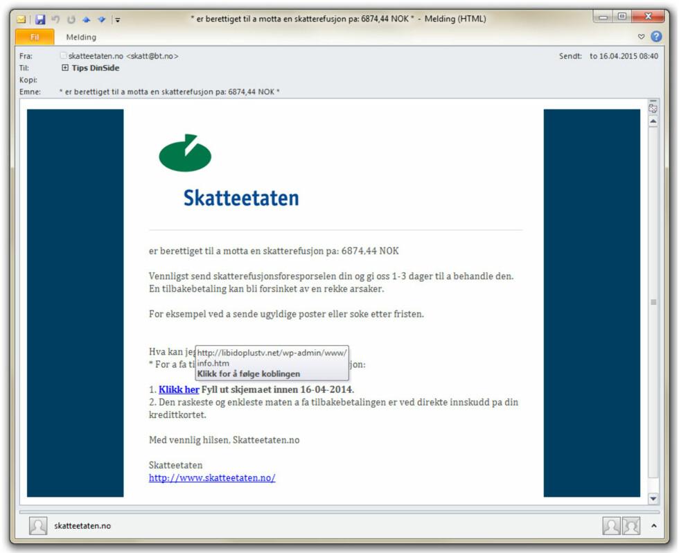 SKATTEETATEN: Norske myndigheter vil aldri be deg oppgi sensitiv informasjon på den måten svindlerne gjør det.  Foto: OLE PETTER BAUGERØD STOKKE