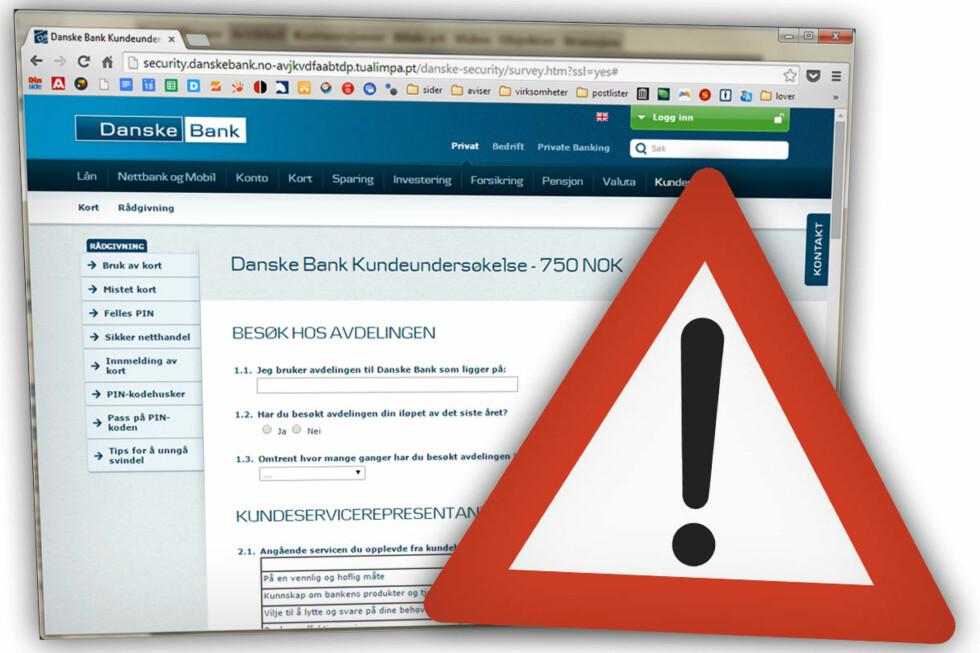 BANKEN: Mange phishingangrep tar utgangspunkt i norske banker, som denne falske spørreundersøkelsen i Danske Bank sitt navn. Foto: OLE PETTER BAUGERØD STOKKE