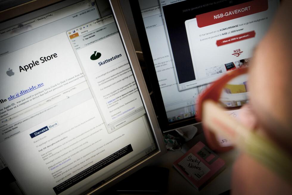 PHISHING GJENNOM SPAM: E-poster fra Apple, Skatteetaten, banken, Netflix og andre store kjente aktører kan raskt dreie seg om et phishingforsøk. Vær forsiktig med hva du gir fra deg.  Foto: OLE PETTER BAUGERØD STOKKE