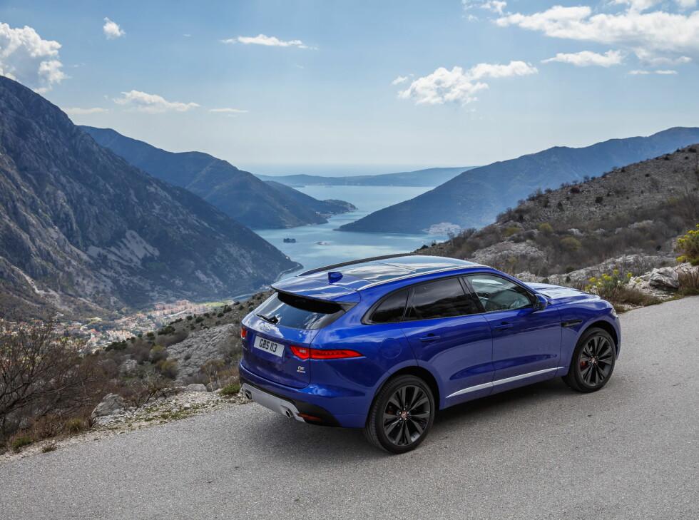 VAKKERT: F-Pace har en klar sportslig utstråling, og tar seg godt ut i vakker natur, som her i Montenegro.  Foto: Jaguar