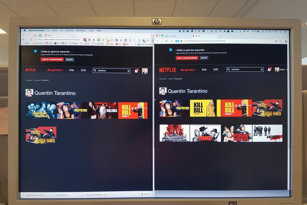 OPERA TIL HØYRE: Ved å bruke den innebygde VPN-funksjonen i nye Opera, lures Netflix til å tro at befinner oss i USA. Der er utvalget større. Foto: PÅL JOAKIM OLSEN
