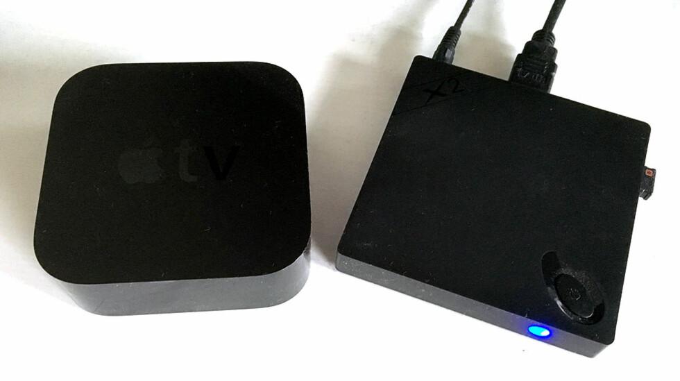 <strong><B>TYNNERE ENN APPLE TV</B>:</strong> Beebox X2 er mye tynnere enn siste generasjon Apple TV, men har et litt større fotavtrykk. Foto: BJØRN EIRIK LOFTÅS