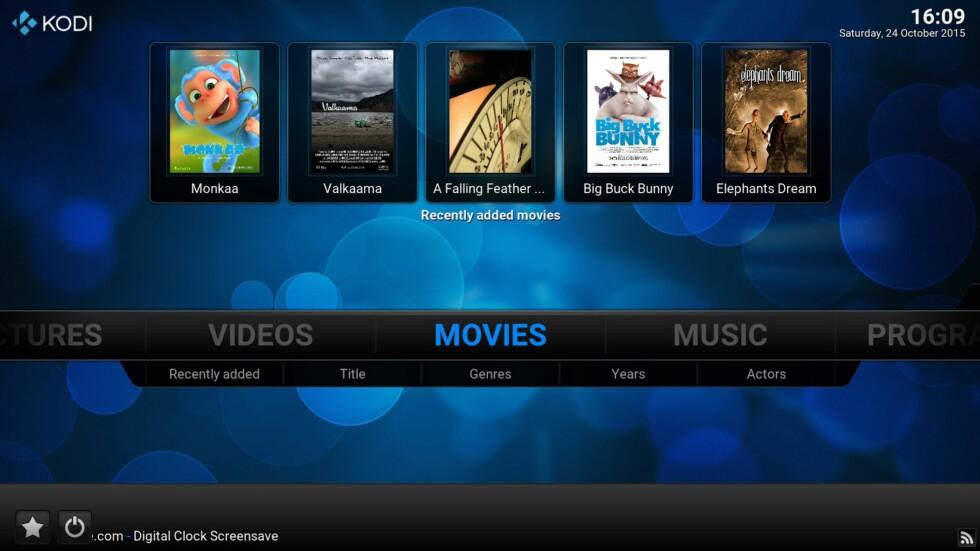 MEDIESENTER: Kodi er en TV-vennlig app som er helt gratis. Den er allerede installert på Beebox X2 ved leveransen.