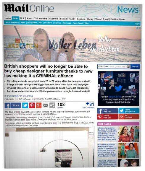 SNART SLUTT: Britiske medier som Daily Mail melder om at lovendringen som kan stoppe replikamøbler snart trer i kraft i Storbritannia.  Foto: dailymail.co.uk