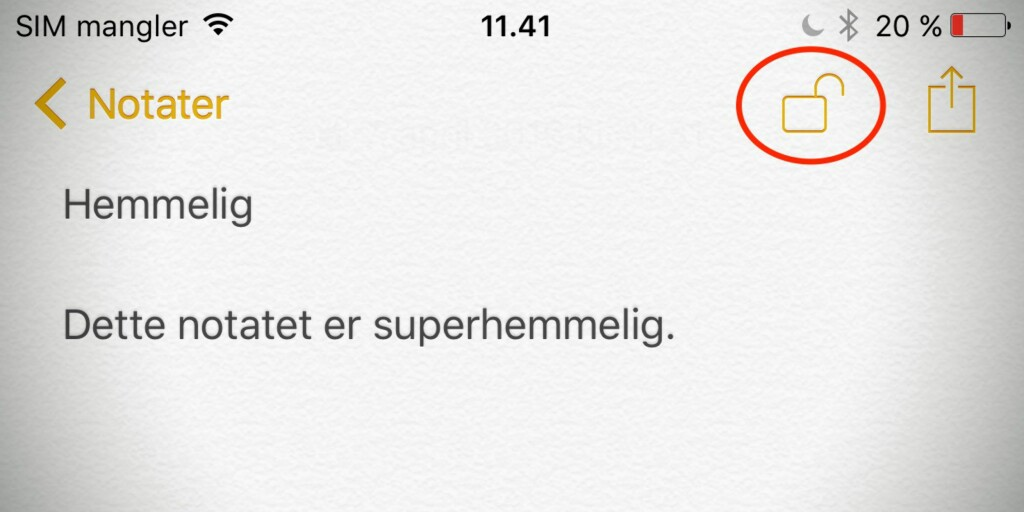 image: Beskytt iPhone-notater med passord