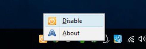 Programmet legger seg som et ikon i systemverktøylinjen. Hvis du har administratorrettigheter i Windows kan du velge å deaktivere programmet - for eksempel hvis du vil installere programmer som skal være på plass også etter neste omstart.