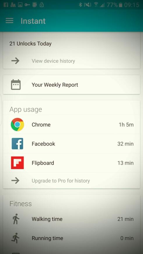 HOLDER OVERSIKT: Ved siden av antall opplåsninger får du også statistikk over hvilke apper du bruker mest, aktivitet og mer til. Foto: PÅL JOAKIM OLSEN