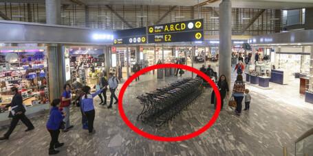 Handletrallene på Oslo lufthavns utenlandsterminal er fjernet