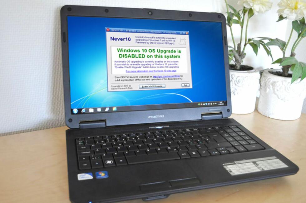 <strong><B>ETT TRYKK ER NOK</B>:</strong> Gratisprogrammet Never 10 sørger for at du slipper stadige varsler og påminnelser om å oppgradere fra Windows 7 og 8.1 til 10. Foto: BJØRN EIRIK LOFTÅS