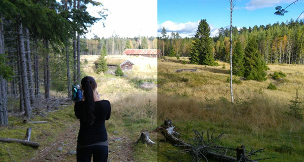 BRUK HDR: I situasjoner der det er store kontraster i bildet, vil HDR-modus (til høyre) kunne gi deg detaljer både i lyse og mørke partier av bildet. Foto: PÅL JOAKIM OLSEN