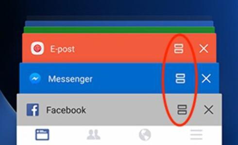 HER: Etter å ha trykket på programbytteknappen, kan du kjøre en app på halve skjermen ved å trykke på et slikt ikon. Foto: PÅL JOAKIM OLSEN