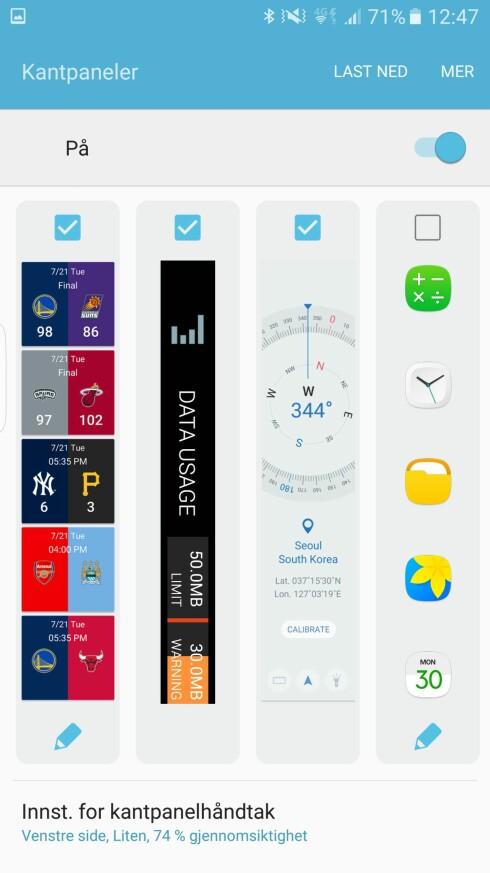VELG SELV: Du kan selv velge hvilke paneler du vil ha på skjermkanten, tilpasse dem ved å trykke på blyantikonet og hente flere ved å trykke på «last ned» øverst. Foto: PÅL JOAKIM OLSEN
