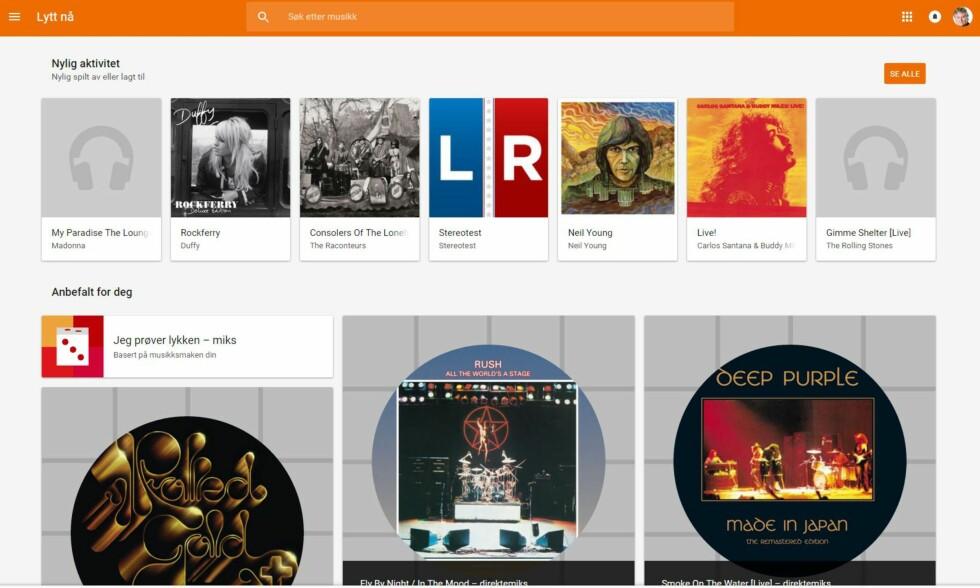 ENKELT: Google Play Music «suger» musiken din opp fra harddisken og lar deg spille den av overalt. Foto: GOOGLE