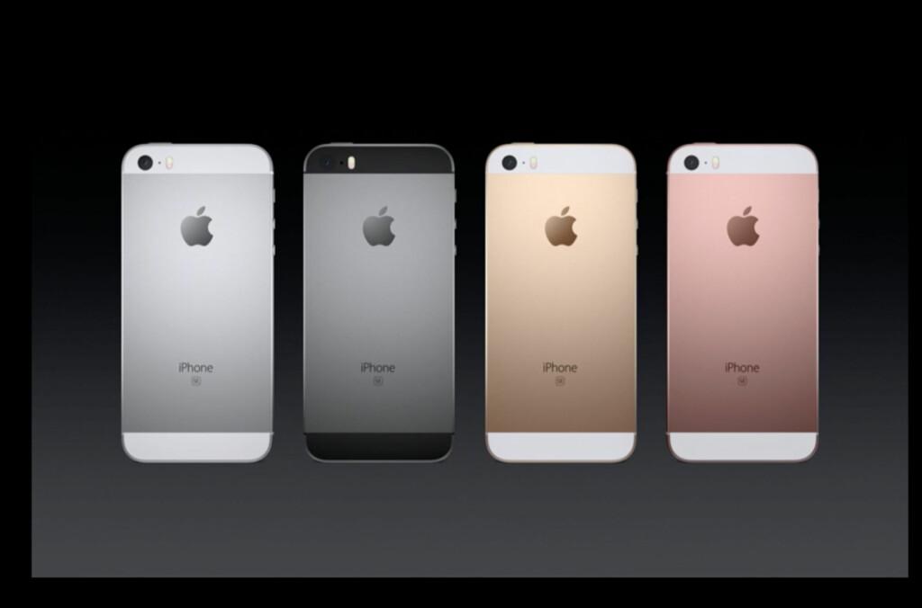 <strong>NY:</strong> iPhone SE er like stor som 5-serien og har fått en vesentlig hyggeligere prislapp enn 6s-modellene. Foto: APPLE