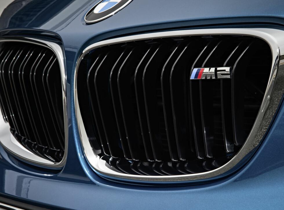 MMM: Blank sorte nyrer innrammet i crome er standard. Den lille logoen forteller at dette er noe spesielt. Foto: BMW