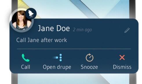 NYTT: En av de nye funksjonene er at du enkelt kan lage en påminnelse om å ringe en kontakt. Foto: DRUPE