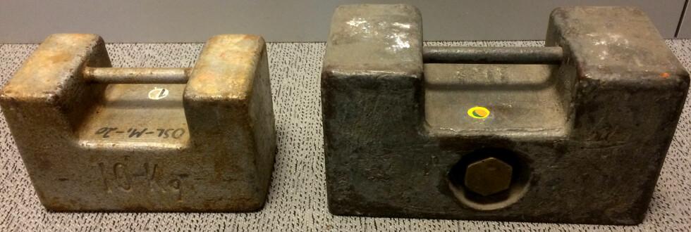 LODD: To lodd på henholdsvis 10 og 20 kilo utlånt fra Justervesenet ble brukt i testen vår. Foto: TORE NESET