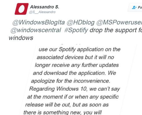 BRUKERSTØTTE: Twitter-siganturen Alessandro S. la ut denne meldingen i går. Den stammet angivelig fra Spotifys brukerstøtte, noe som delvis bekreftes i dementiet fra Spotify. Foto: ALESSANDRO S./TWITTER